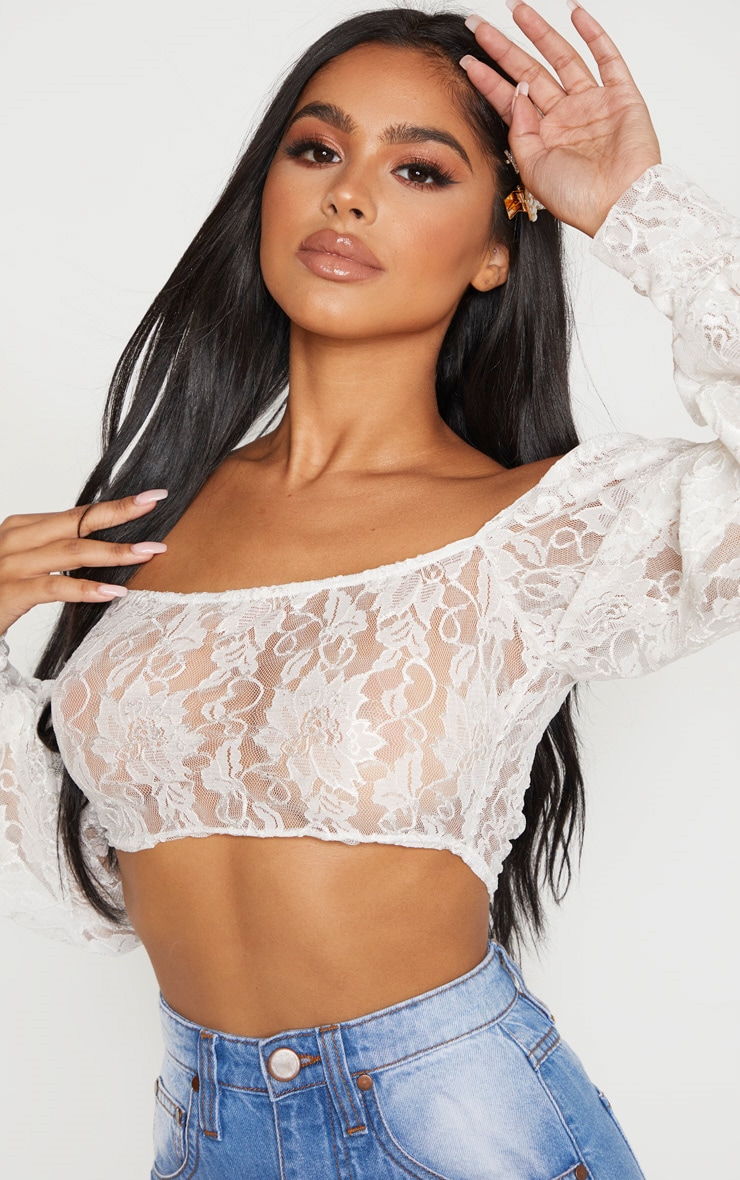 Petite White Lace Bardot Sleeve Crop Top  5