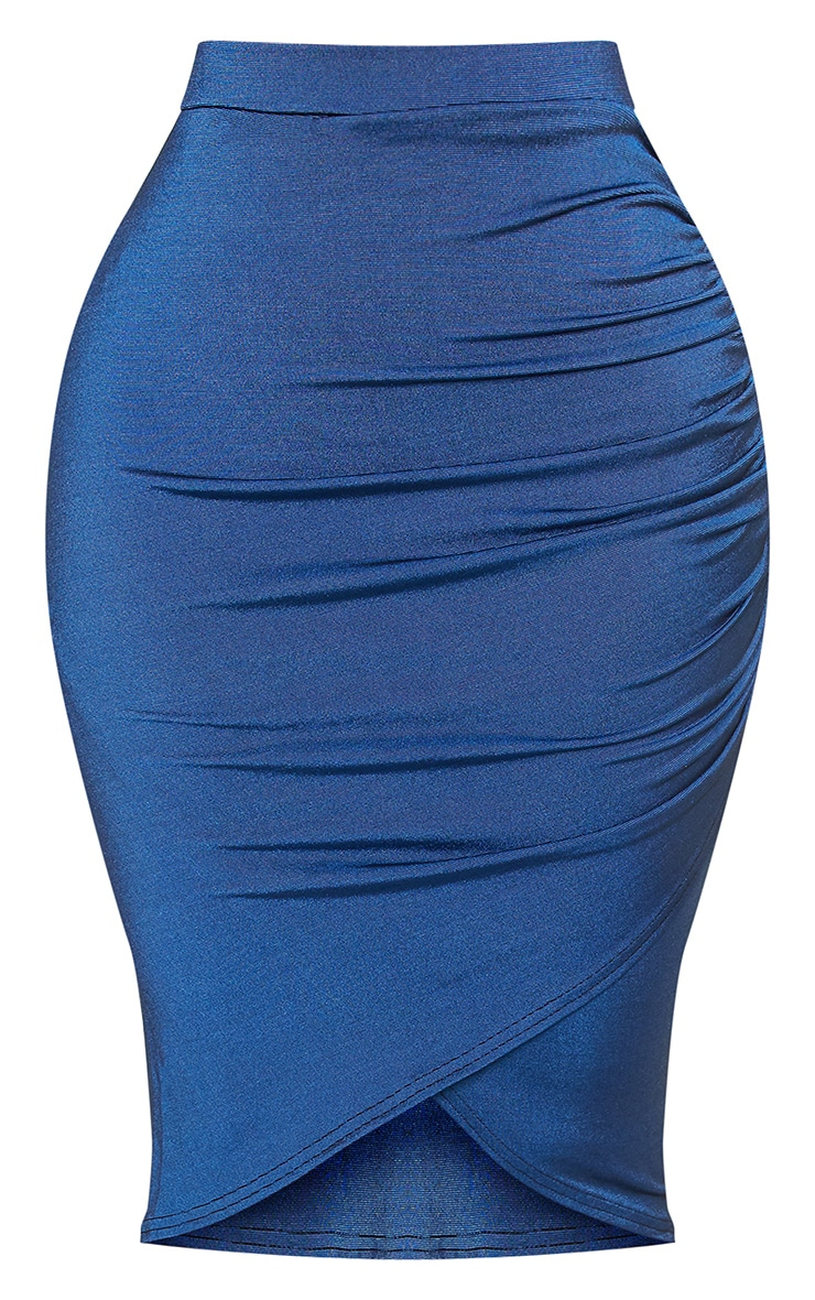 Shape Navy Ruched Side Midi Skirt  3