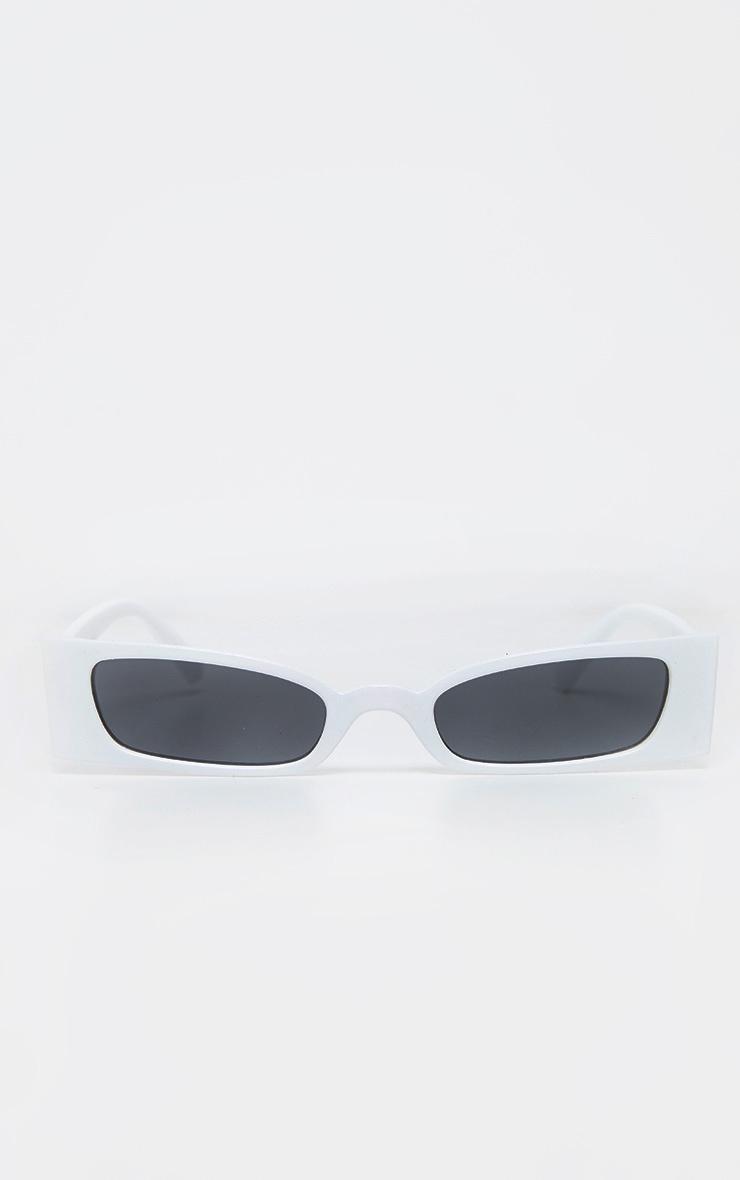 White Squashed Flat Rectangle Sunglasses 2