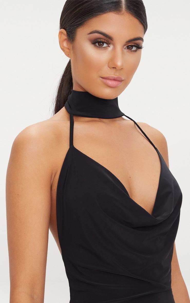 Black Cowl Neck Slinky Thong Bodysuit  6