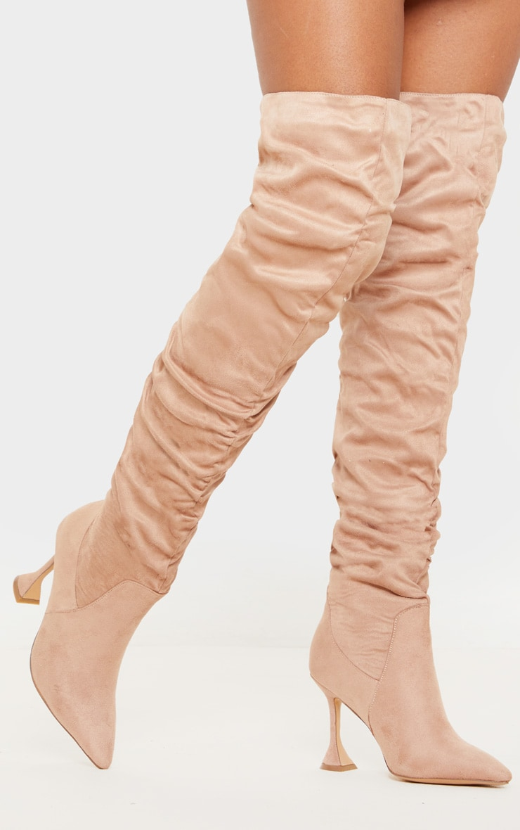 Taupe Flare Heel Slouch Thigh High Boot 2