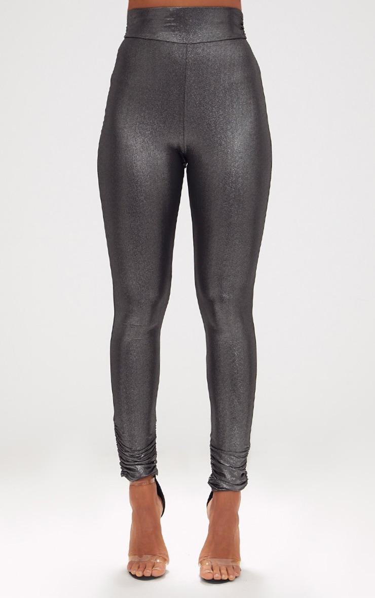 Silver Metallic Ruched Leggings 2