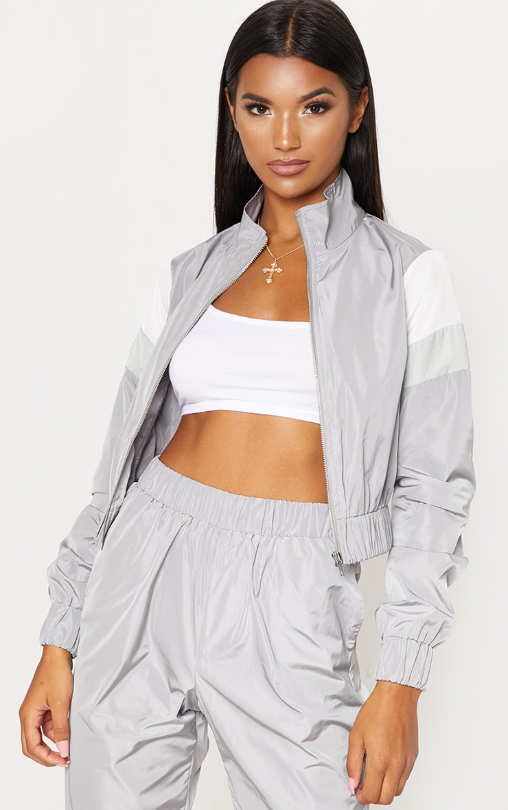 Grey Stripe Shell Tracksuit Top 1