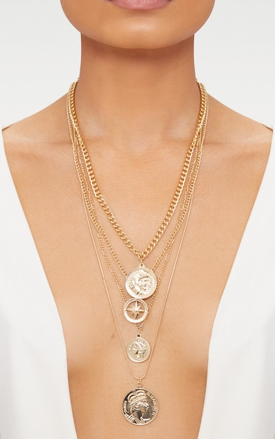 Gold Layered Disk Plunge Necklace Pretty Little Thing