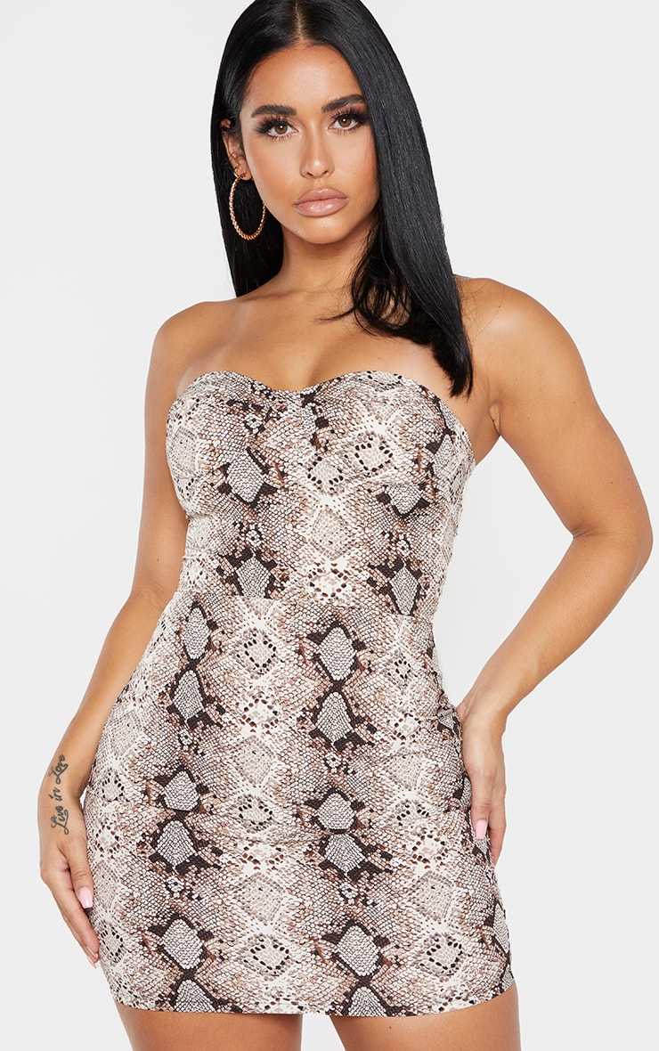 Shape Taupe Snake Print Cup Detail Bodycon Dress 4