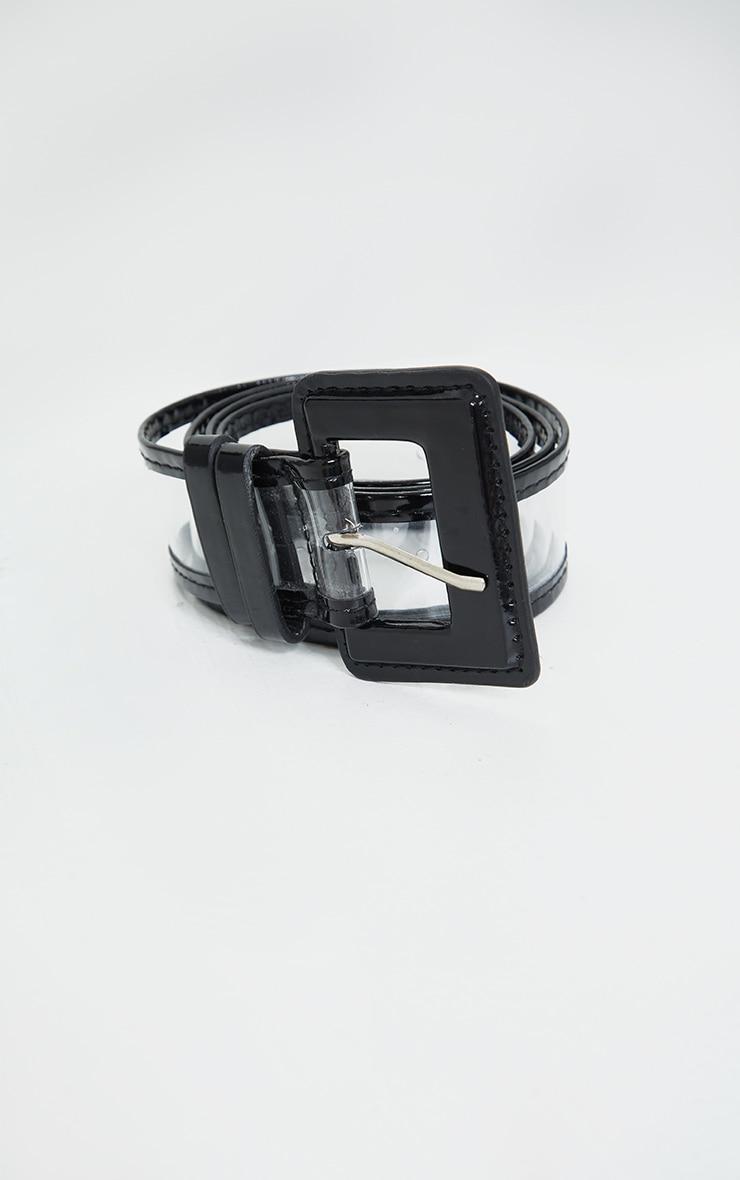 Black Buckle Clear PU Waist Belt 2