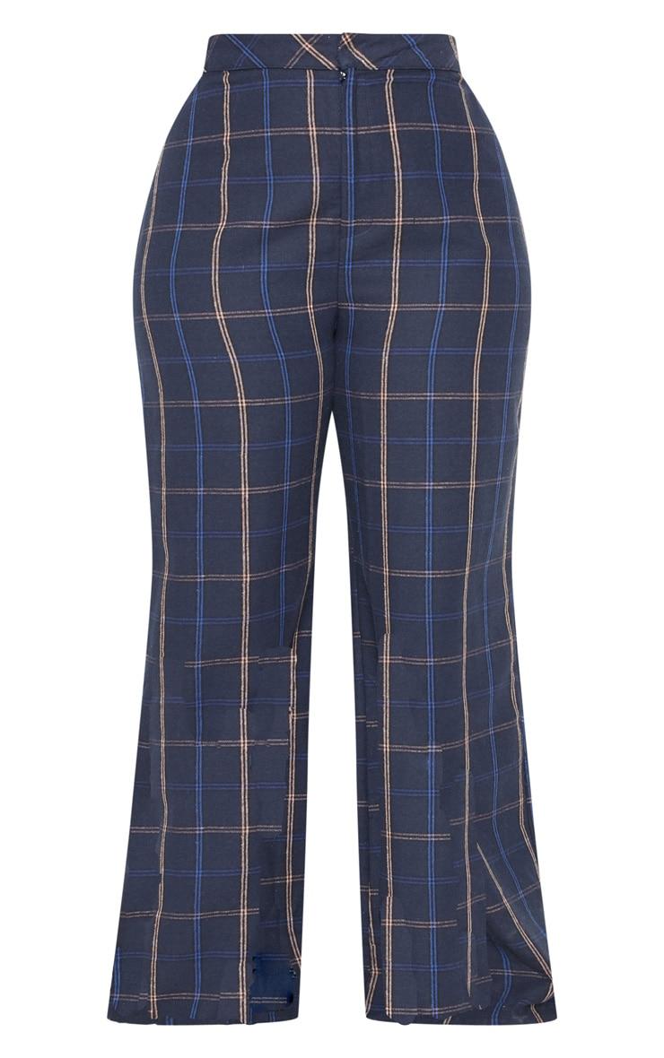 Plus Navy Check Wide Leg Trouser 3