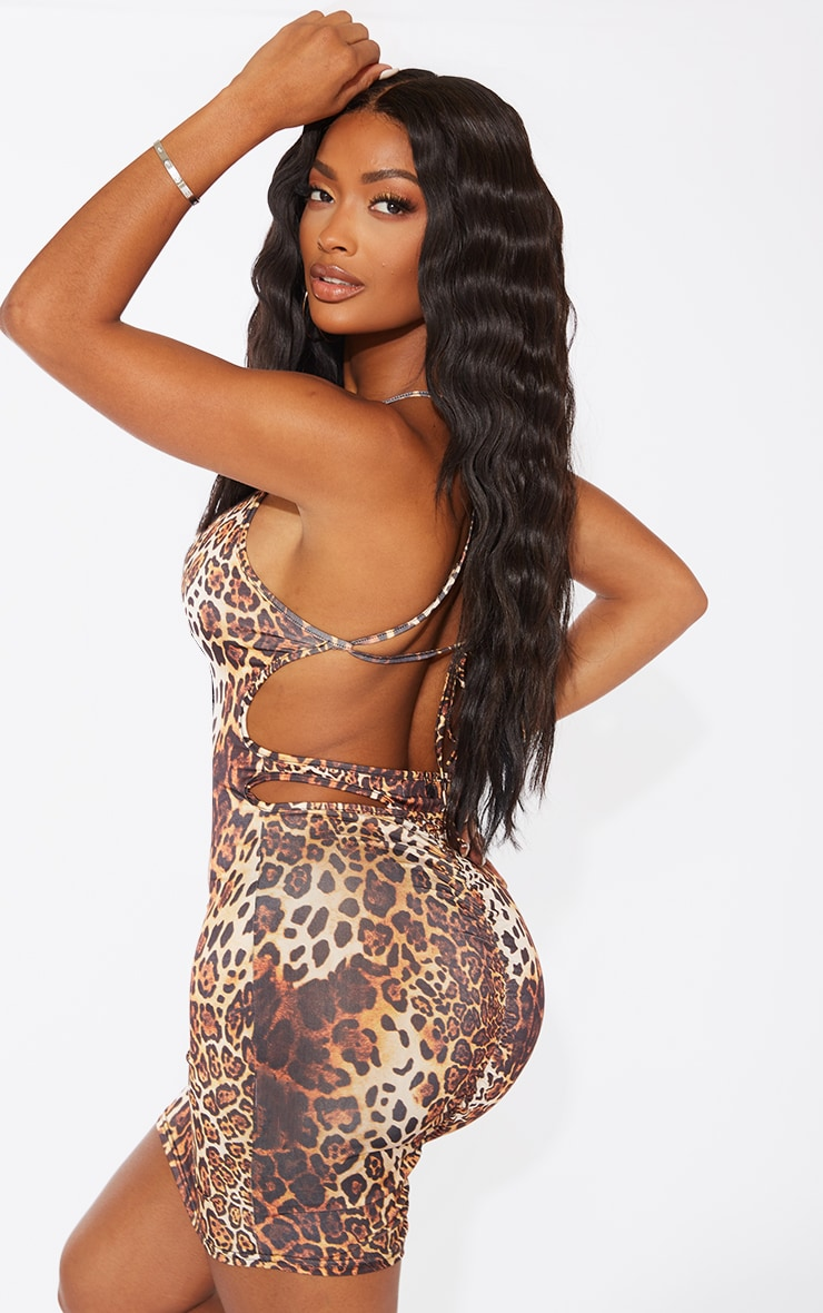Shape Brown Leopard Print Slinky Cut Out Ruched Back Bodycon Dress