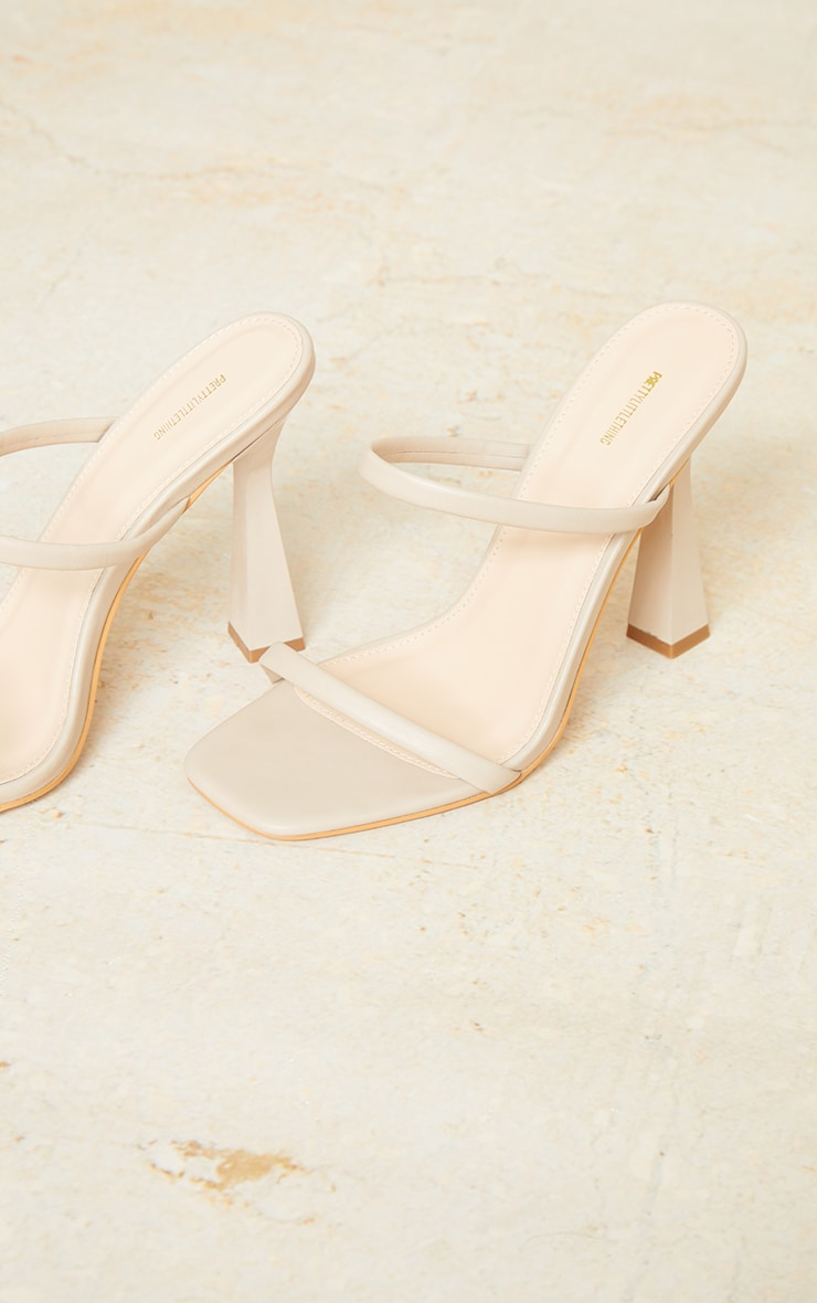Nude Pu Double Strap Heeled Mules 4