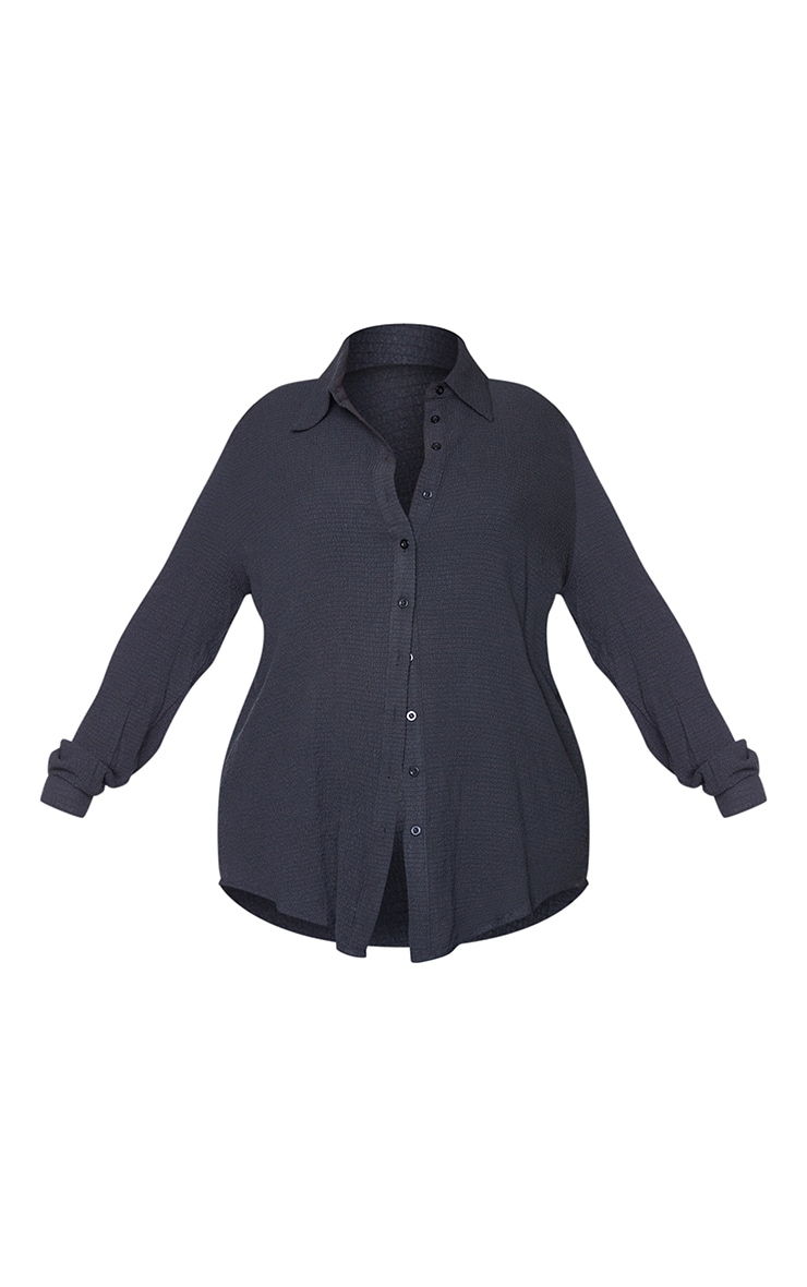 Plus Black Textured Oversized Shirt 5
