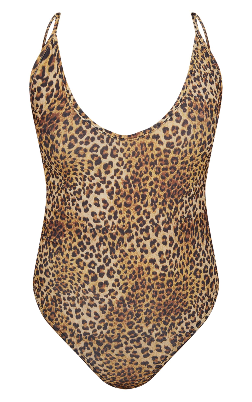 Petite Tan Slinky Leopard Scoop Neck Thong Bodysuit 3
