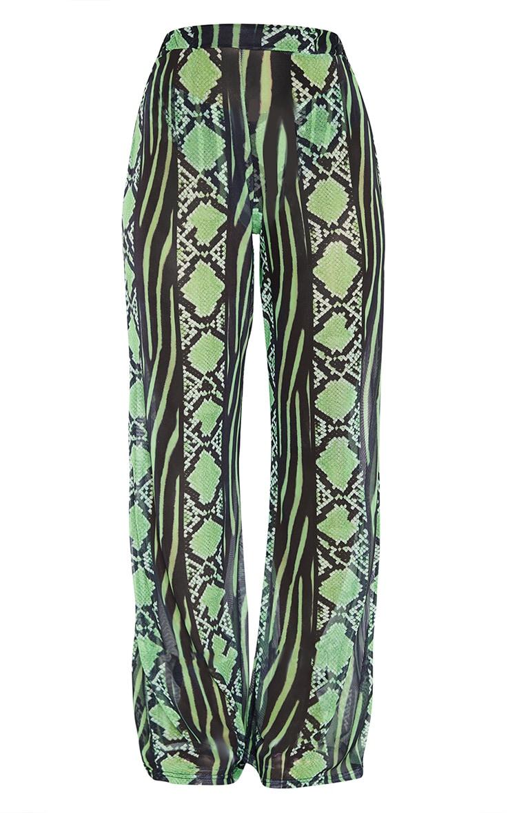 Plus Lime Snake Print Mesh Wide Leg Trouser 3