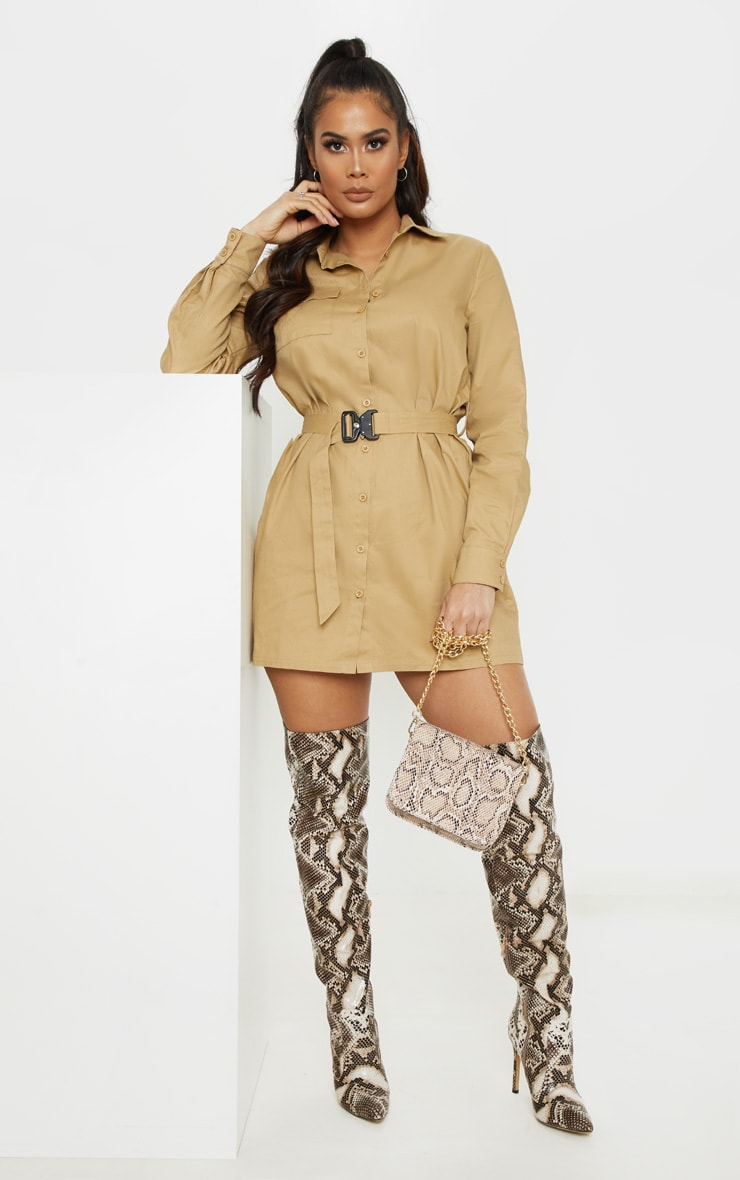 Camel Clasp Detail Buckle Cargo Shirt Dress 1