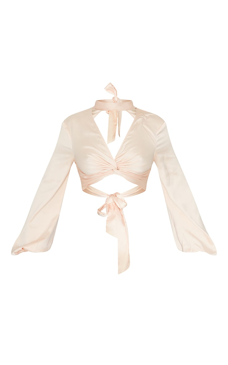 Champagne Satin High Neck Twist Front Backless Blouse 5