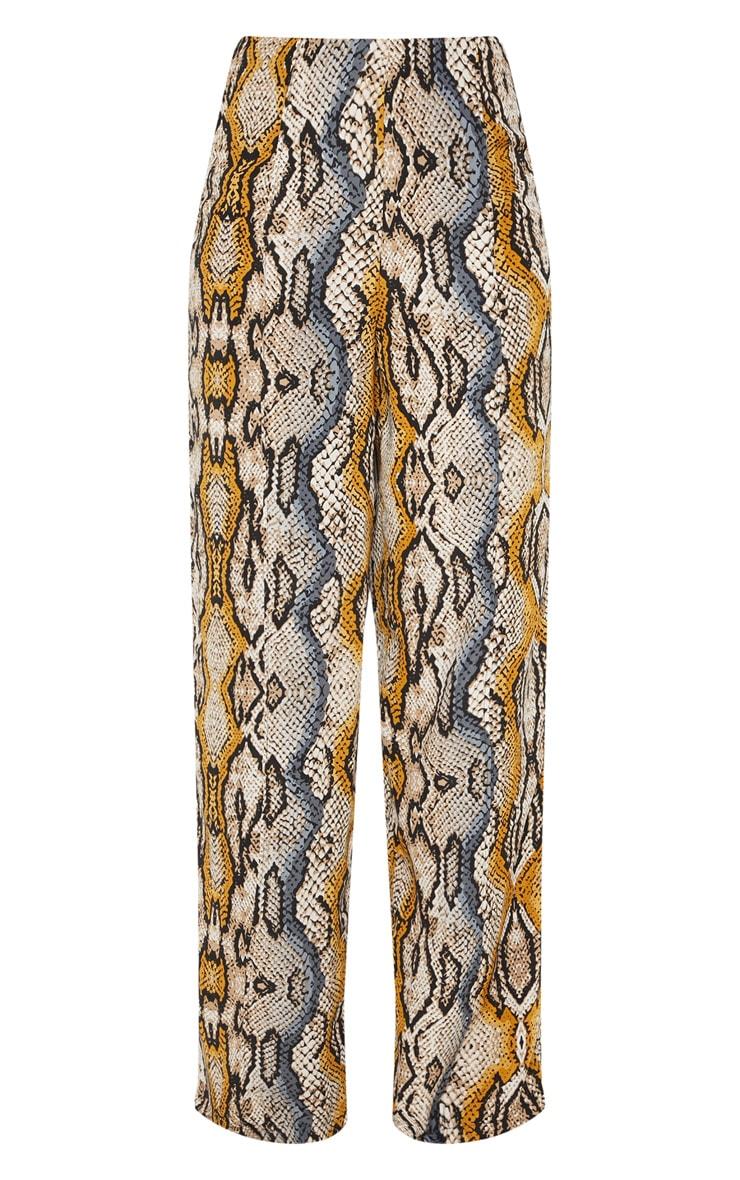 Mustard Snake Printed Wide Leg Pants 3