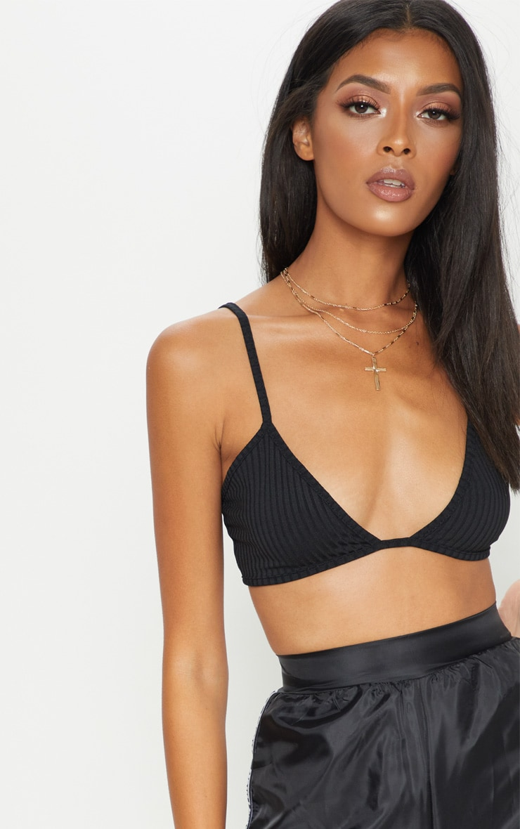 Black Ribbed Jersey Bralet 5