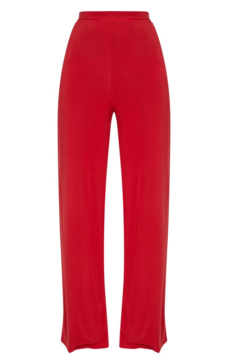 Red Slinky Wide Leg Trousers  3