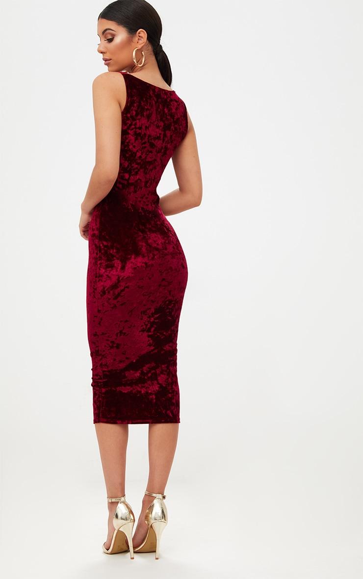 Wine Square Neck Velvet Midaxi Dress 2