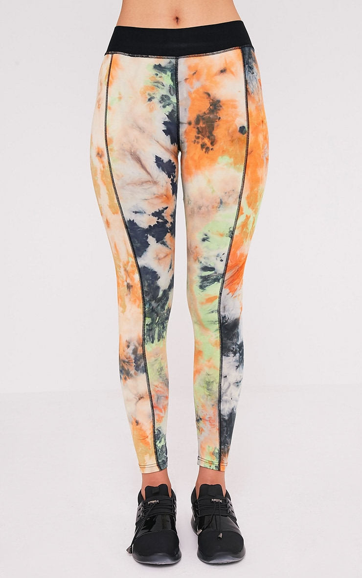 Kacy Orange Tie Dye Gym Leggings 2