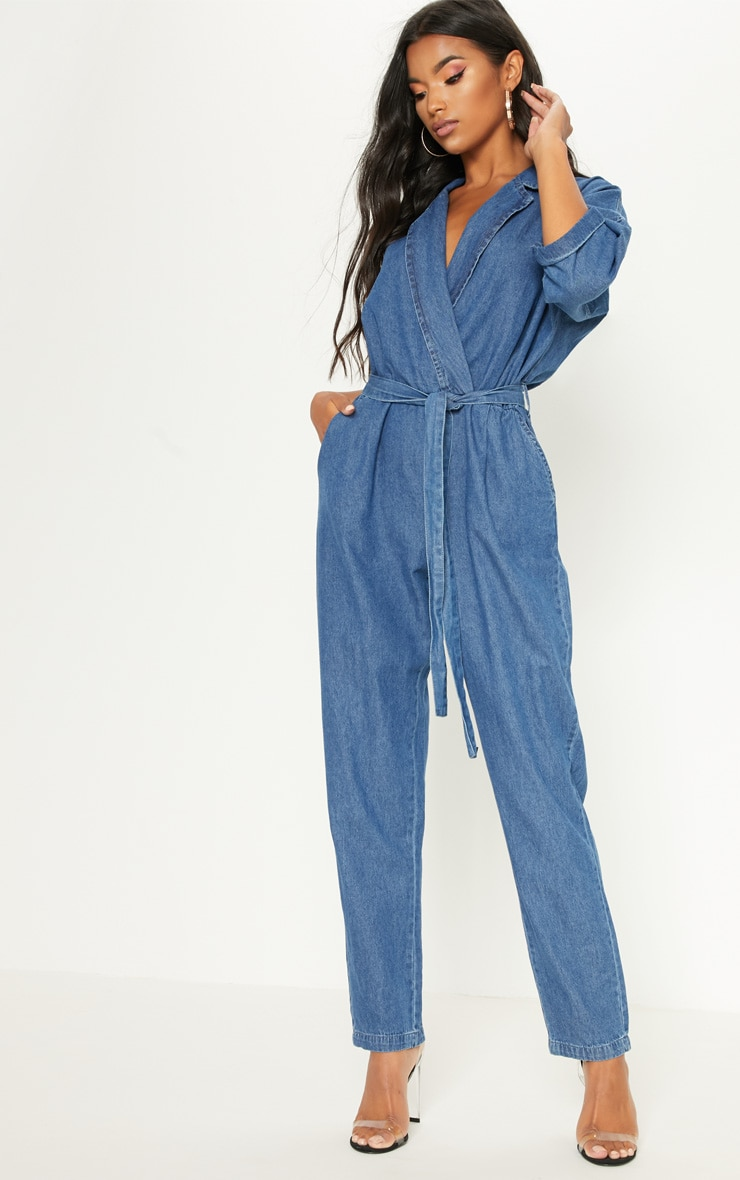 Denim Mid Wash Utility Jumpsuit  4