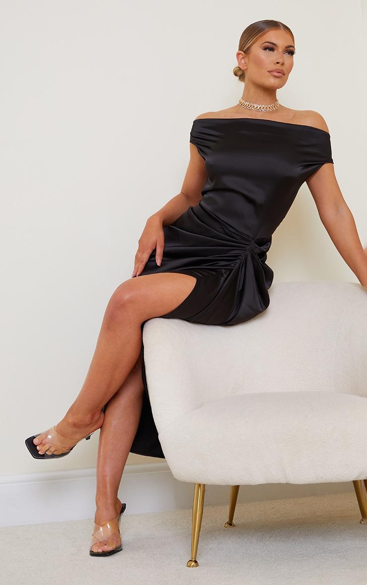 Black Satin Off The Shoulder Draped Skirt Midi Dress 3