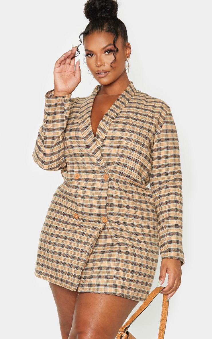 Plus Beige Check Oversized Blazer Dress 1