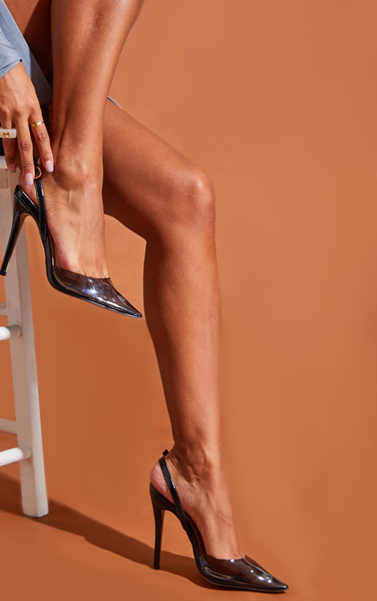 Black Smoked Clear Court Heels 2