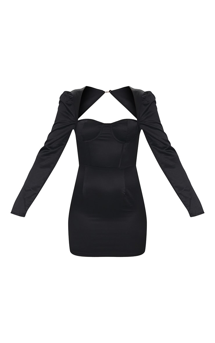 Black Long Sleeve Corset Detail Tie Back Bodycon Dress 5