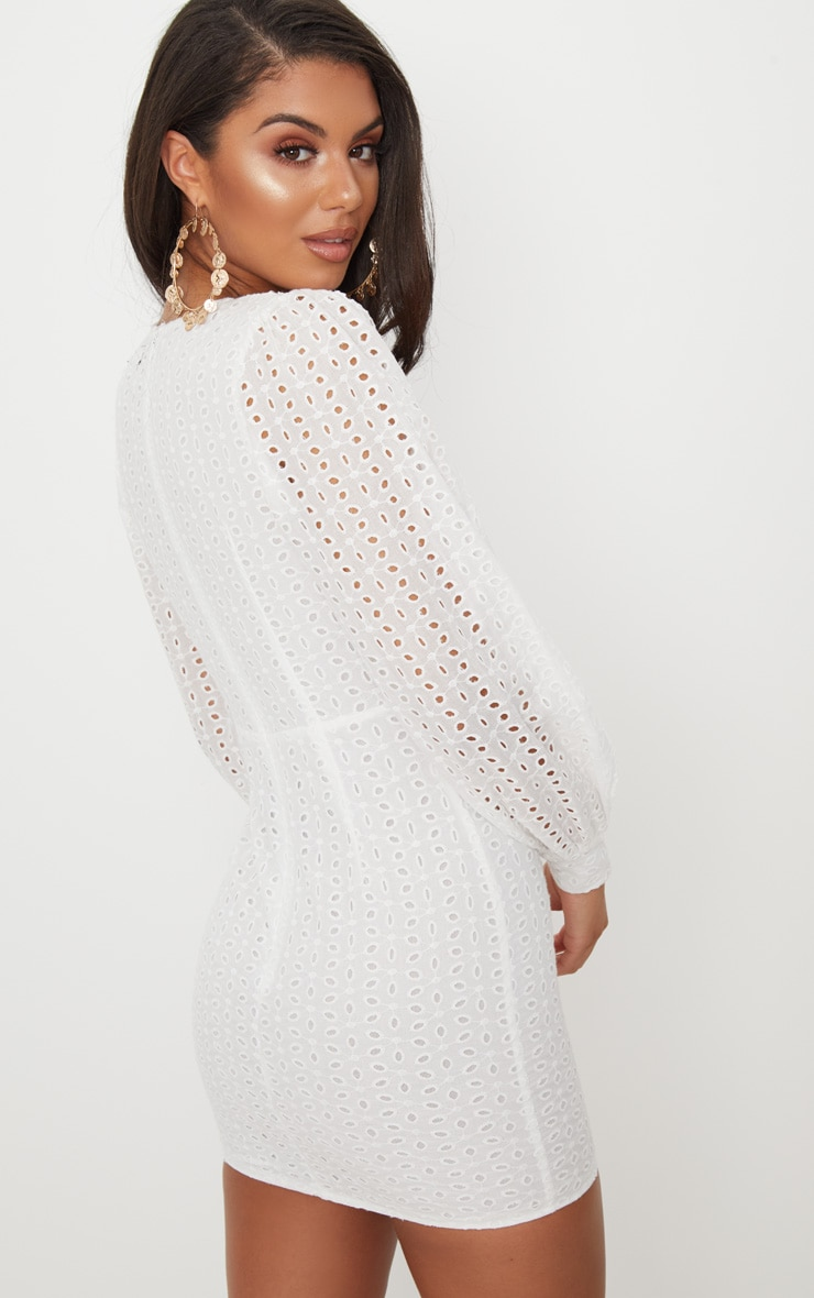White Crochet Lace Puff Sleeve Bodycon Dress 2
