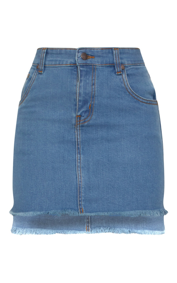 Mid Wash Step Hem Denim Mini Skirt  3