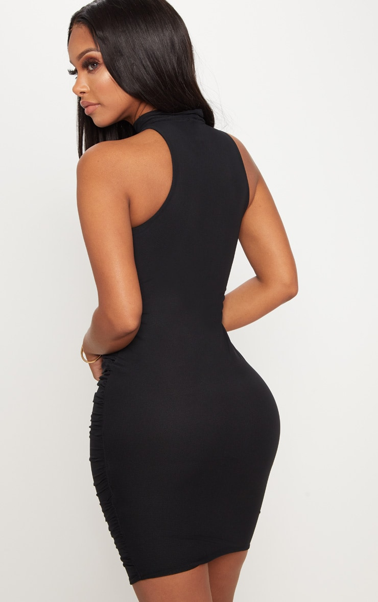 Shape Black Mesh High Neck Ruched Bodycon Dress 2