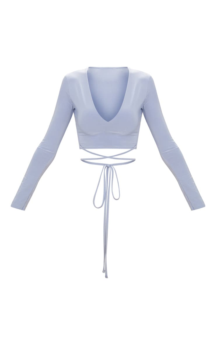 Powder Blue Slinky Long Sleeve Tie Waist Crop Top  3