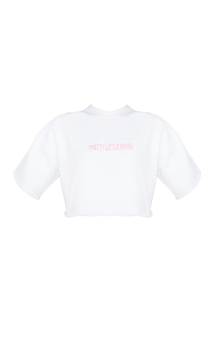 PRETTYLITTLEHTING White Embroidered Cropped T-Shirt Sweater 5