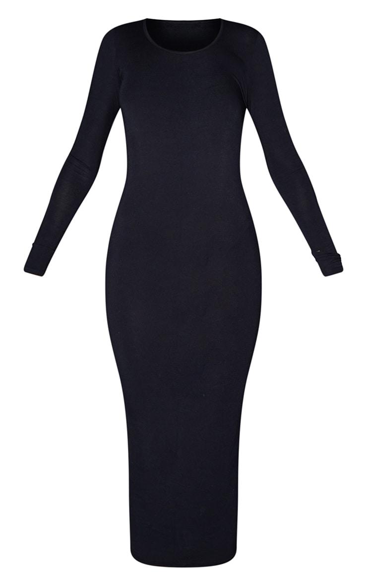 Tall Black Long Sleeve Jersey Maxi Dress 6