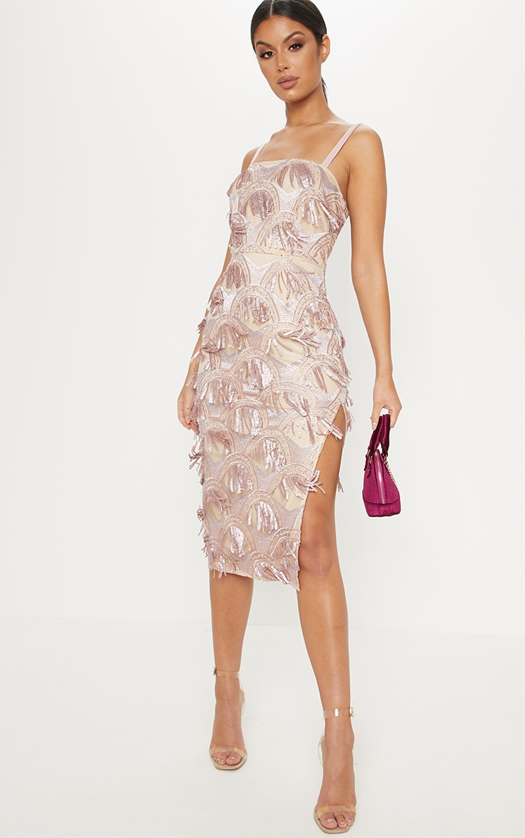 Dusty Pink Tassel Sequin Strappy Midi Dress 1