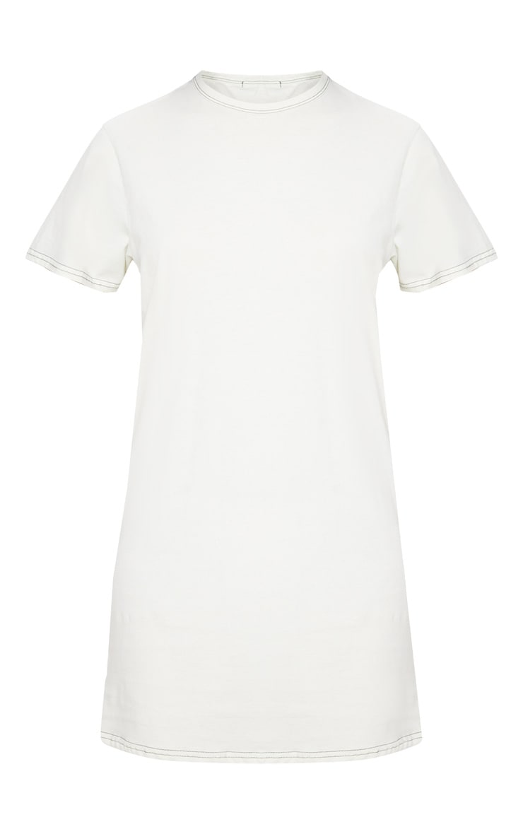 Pale Green Acid Wash Contrast Stitch T Shirt Dress 3