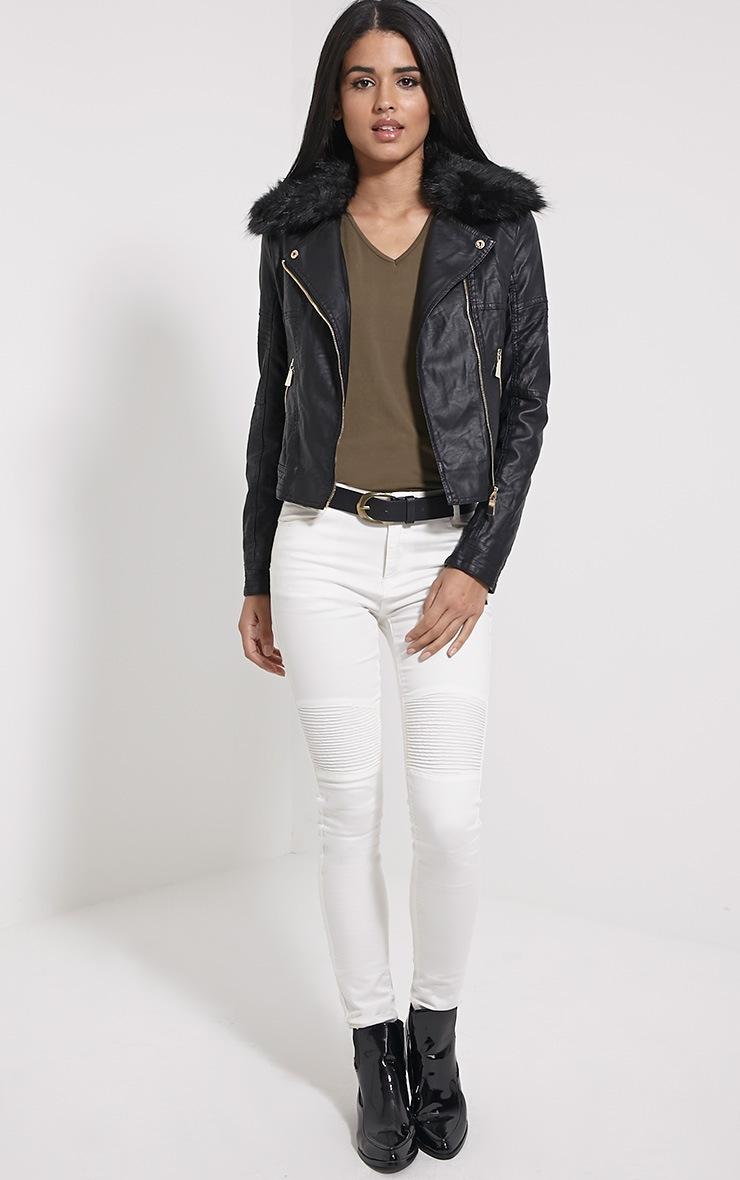 Darla Black Faux Fur Biker Jacket 3