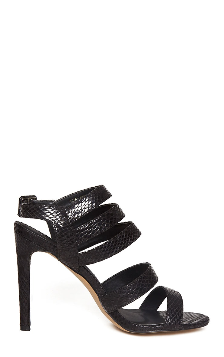 Jemimah Black Strappy Heeled Sandals 4