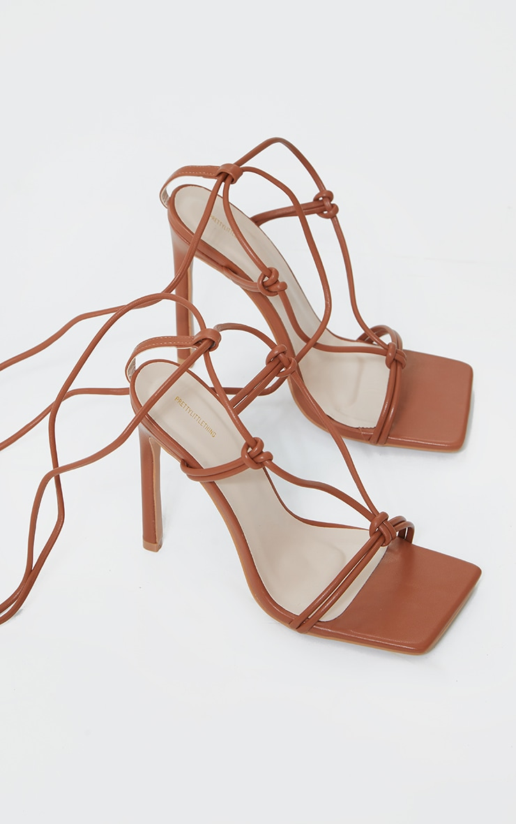 Brown Extreme Square Front Knot Detail High Heels 3