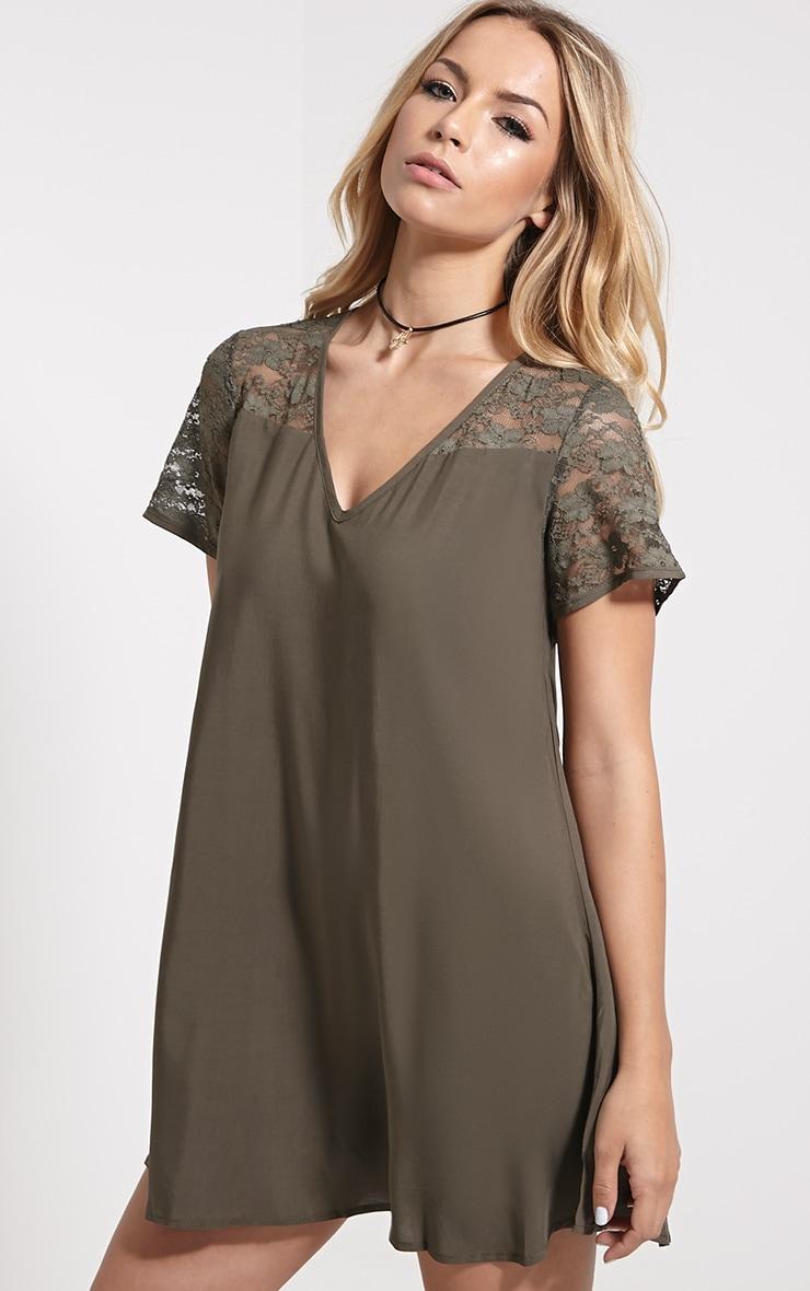 Uri Khaki Lace Detail Shift Dress 4