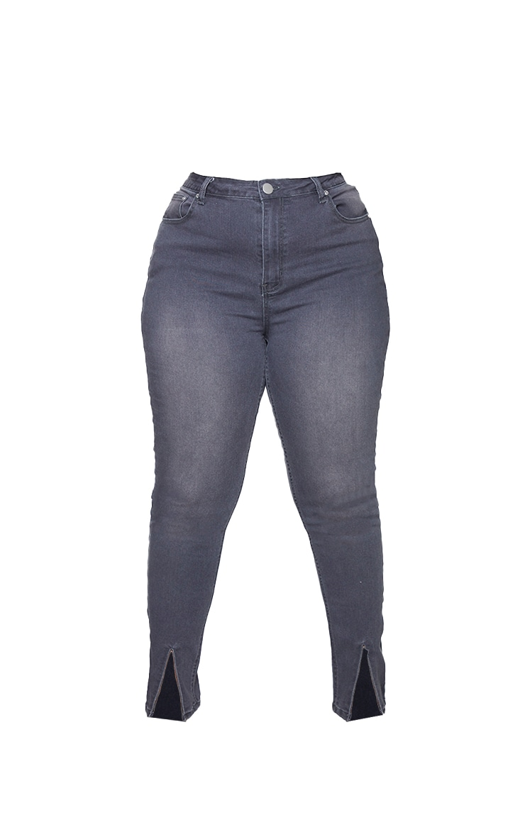 Plus Washed Grey Split Front Skinny Jeans 5