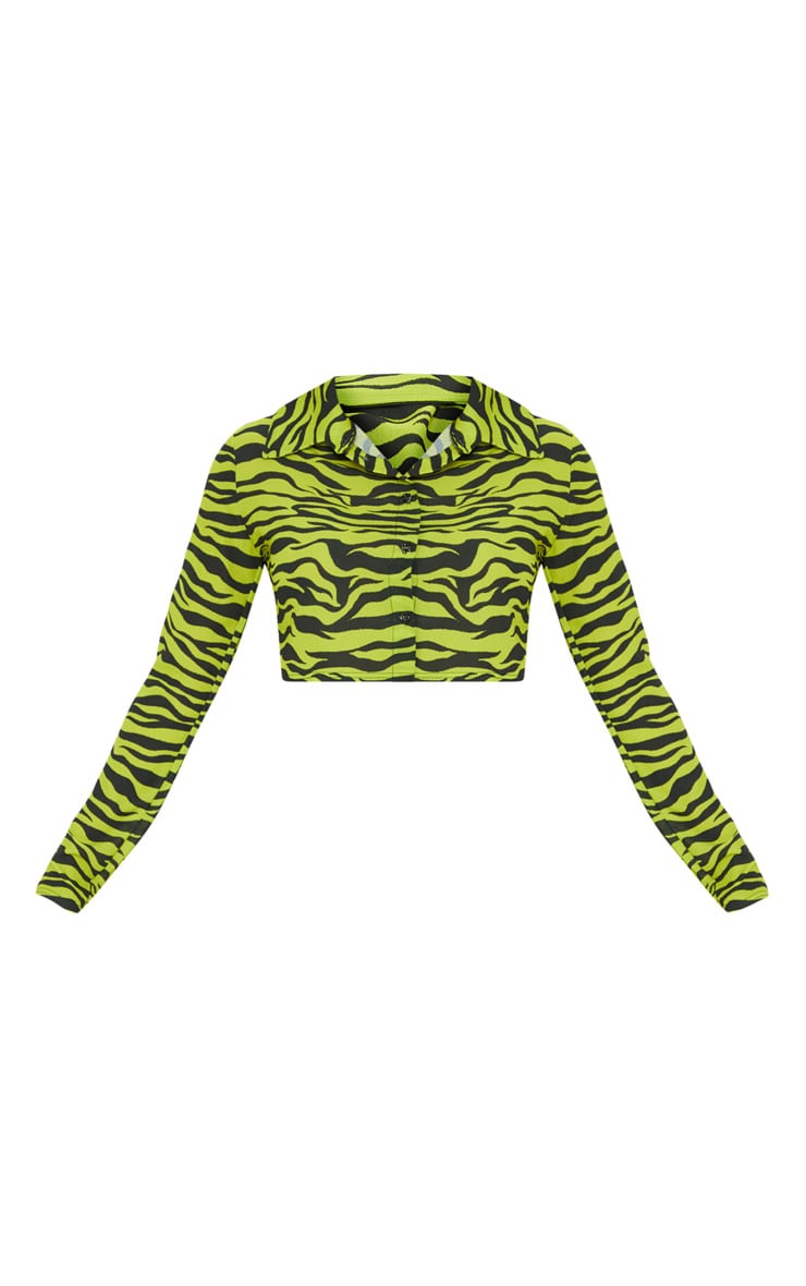 Neon Lime Zebra Printed Crop Shirt 3