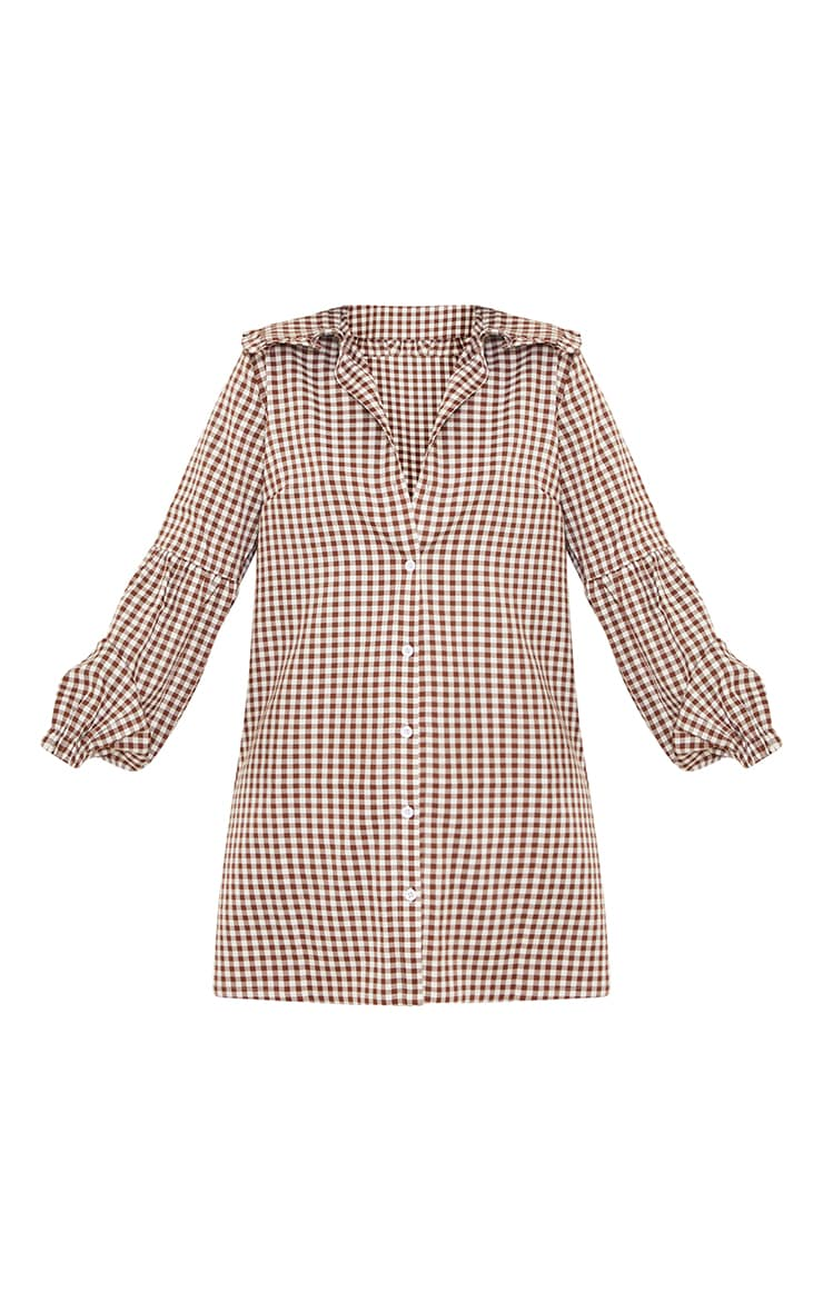 Chocolate Check Print Frill Collar Balloon Sleeve Shirt Dress 5