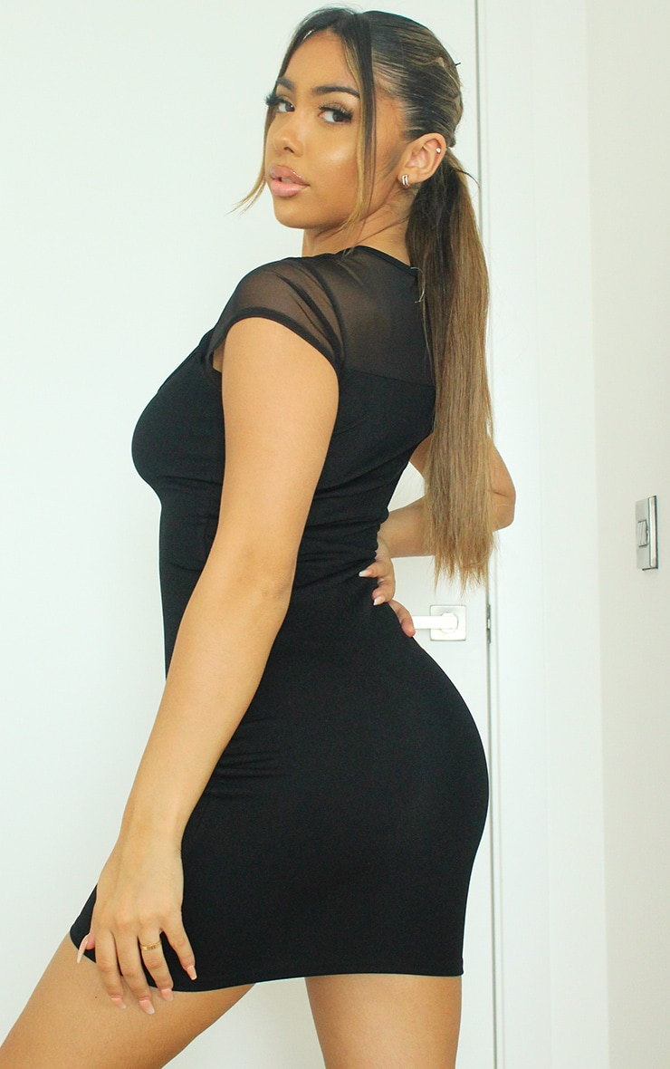Black Mesh Bodice Cut Out Short Sleeve Bodycon Dress 2