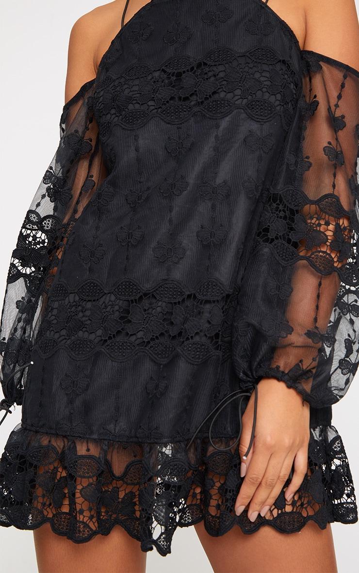 Black Embroidered Cold Shoulder Shift Dress 5