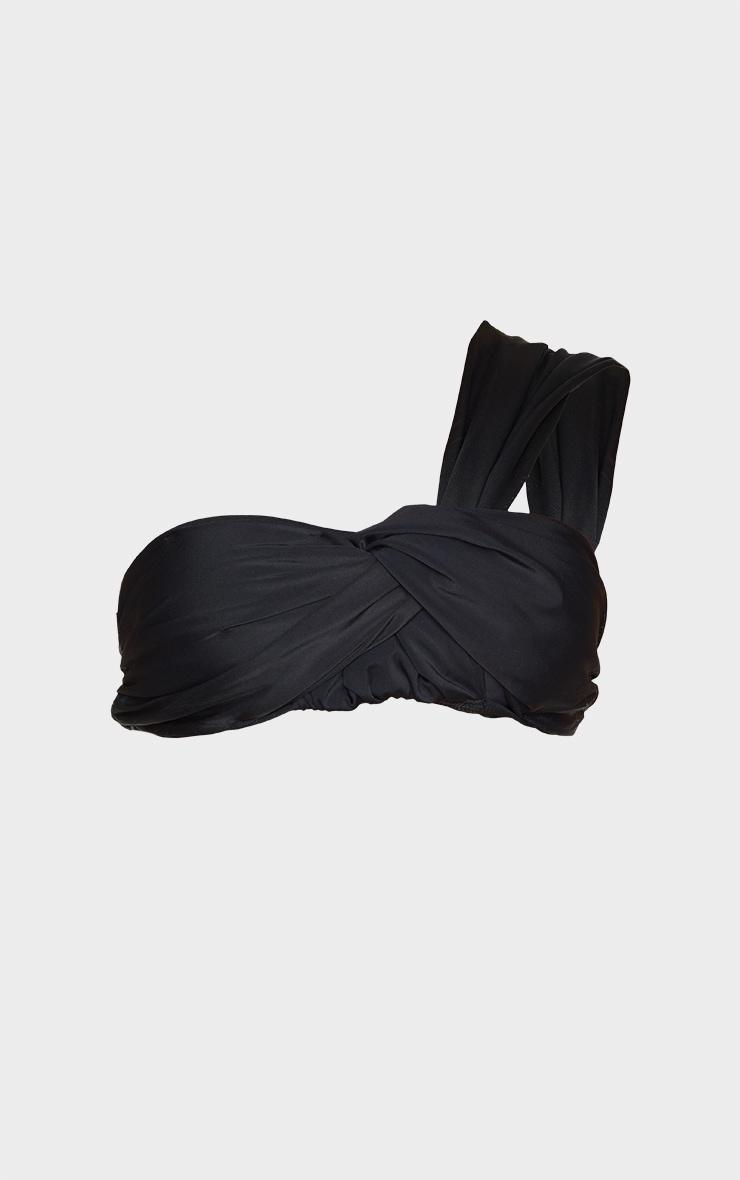 Black Padded Tie One Shoulder Bikini Top 5