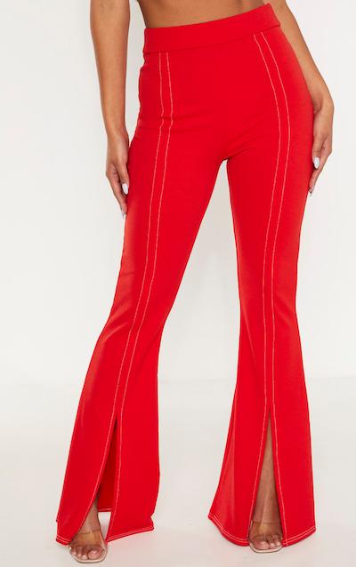 Red Split Leg Flare Trouser
