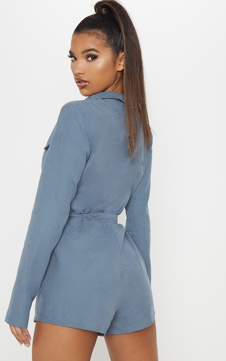 Dusky Blue Belt Detail Plunge Utility Playsuit 2