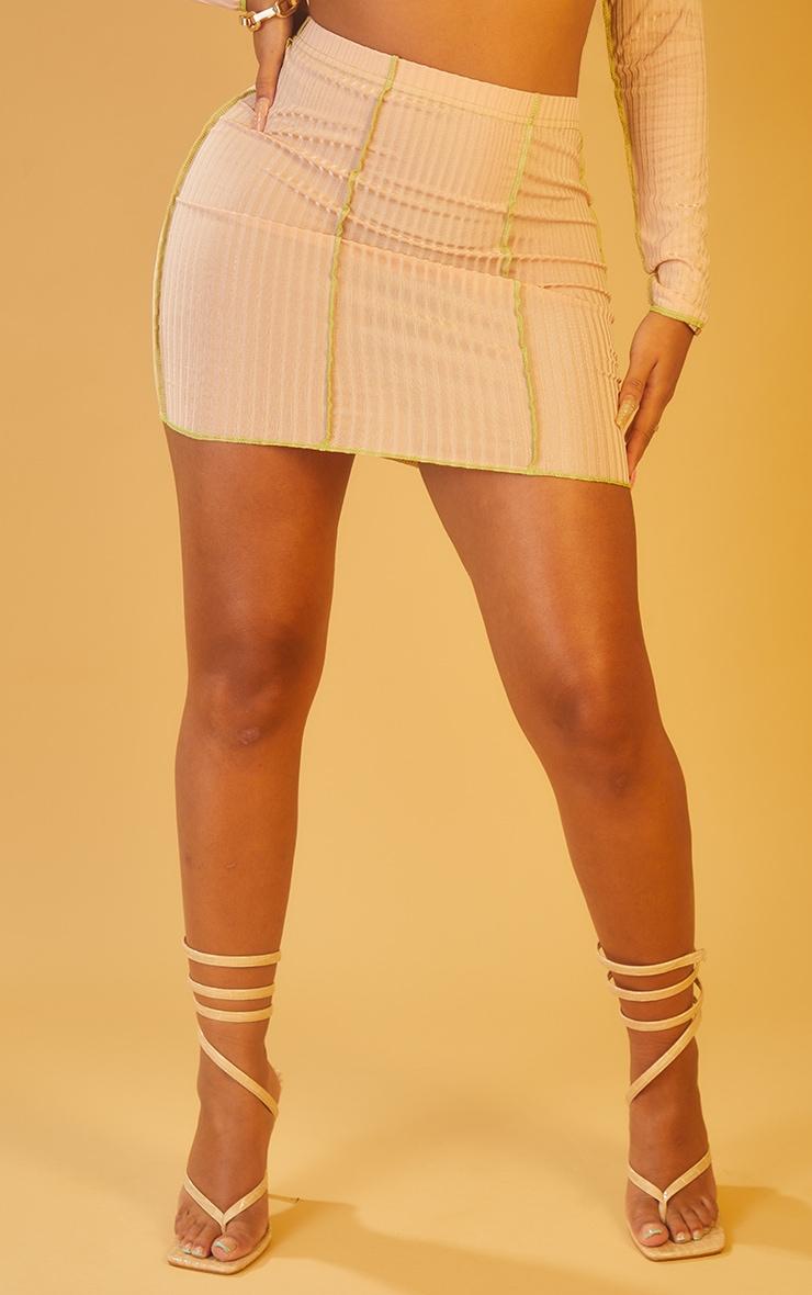 Shape Nude Rib Overlock Bodycon Skirt 2