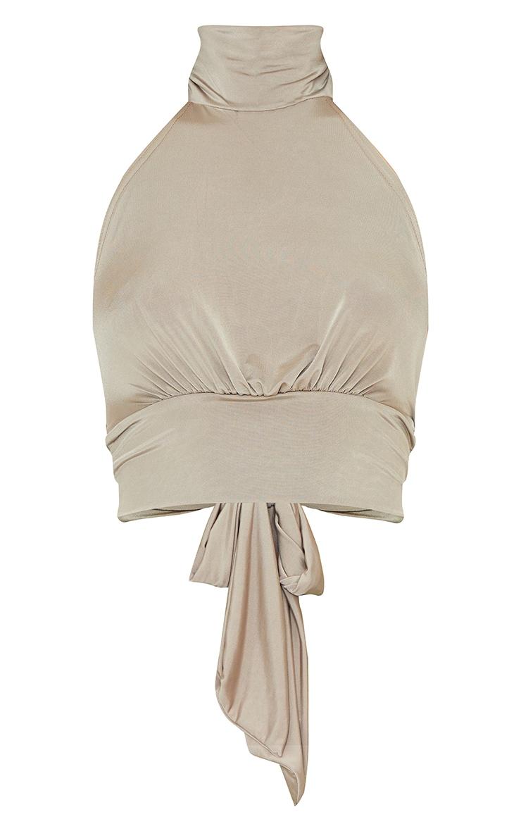 Brown Slinky Halterneck Tie Back Crop Top 5